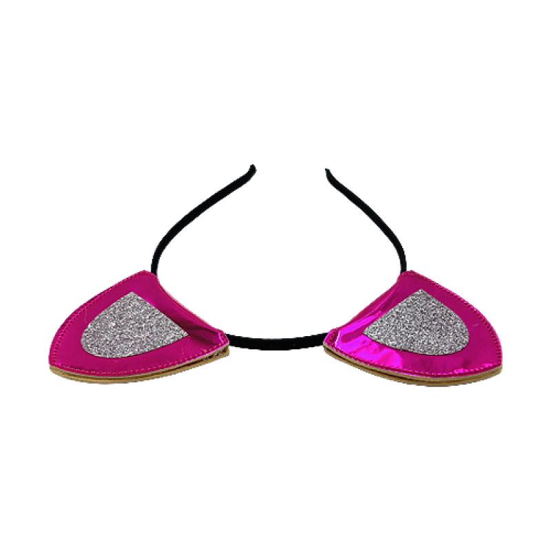 Tiara Gatinha Com Glitter Pink