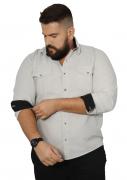 Camisa Colarinho Manga Longa Punho Constrastante Plus Size - Promoção