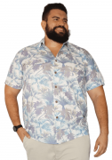 Camisa Colarinho Plus Size Estampada - Promoção
