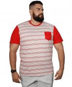 Camiseta Listrada Com Bolso XXPlusSize