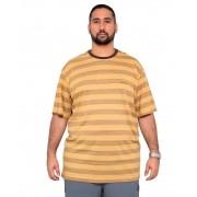 Camiseta Listrada Masculina c/ Bordado Plus Size