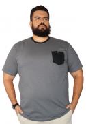 Camiseta Masculina Listrada com Bolso XPlusSize
