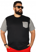 Camiseta Masculina Manga e Bolso Mescla Plus Size