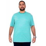 Camiseta Mescla Listrada Masculina Bordado XPlusSize