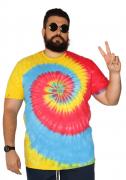 Camiseta Tie Dye Multi Cores Hippie Espiral Plus Size