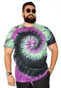 Camiseta Tie Dye Multi Cores Hippie Espiral Plus Size - Promoção