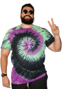 Camiseta Tie Dye Multi Cores Hippie Espiral XPlusSize