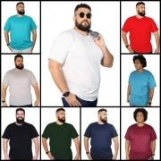 Kit 12 Camisetas Plus Size Básica c/ Bolso 100% Algodão Plus