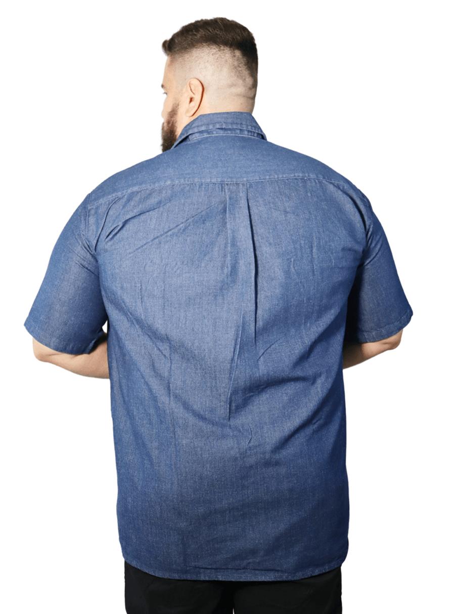 Camisa Colarinho Jeans 2 Bolsos com tampa Plus Size