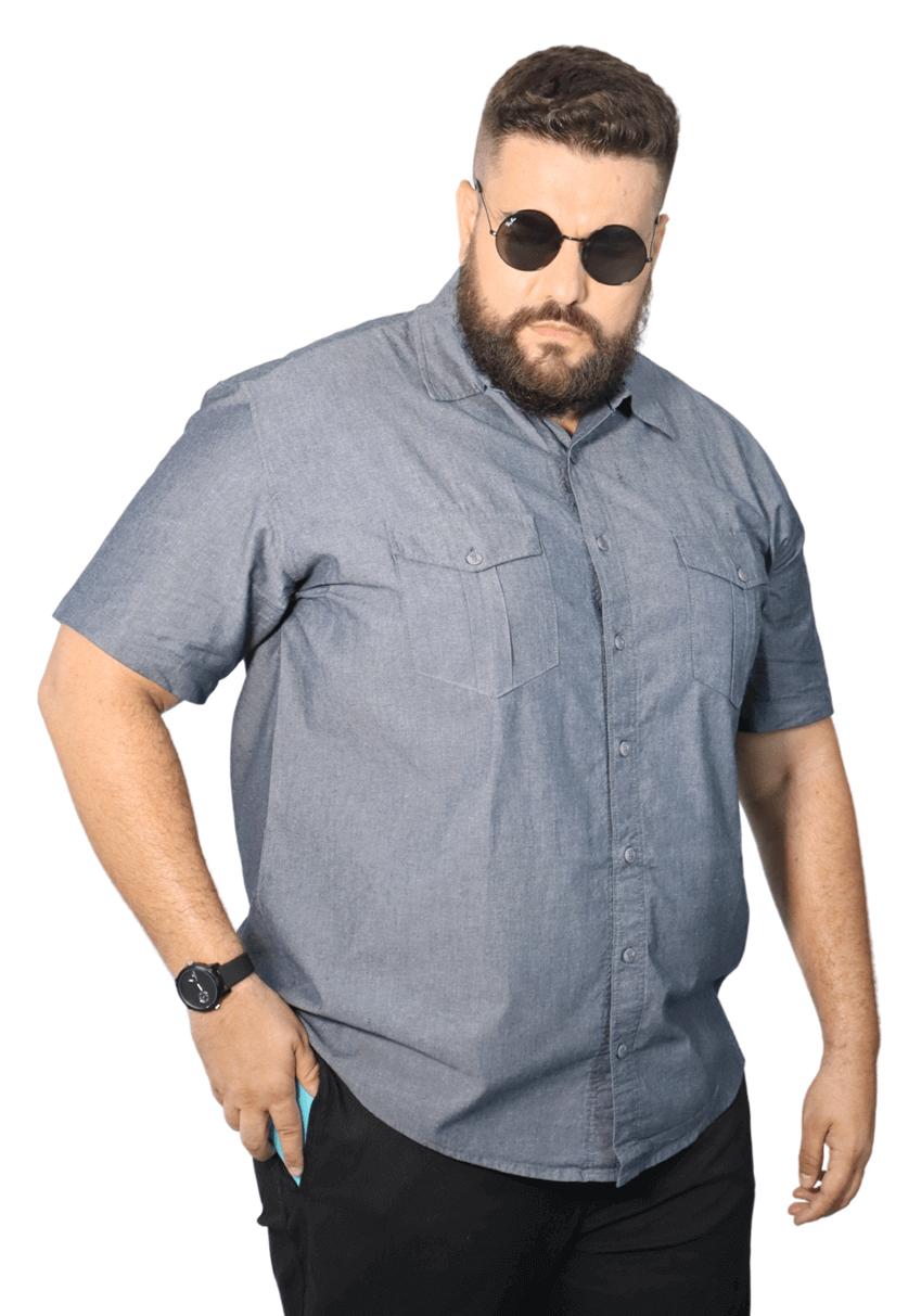 Camisa Colarinho Jeans 2 Bolsos Plus Size