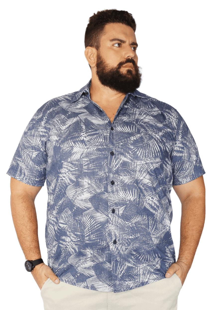 Camisa Masculina Colarinho Estampada Plus Size - Promoção