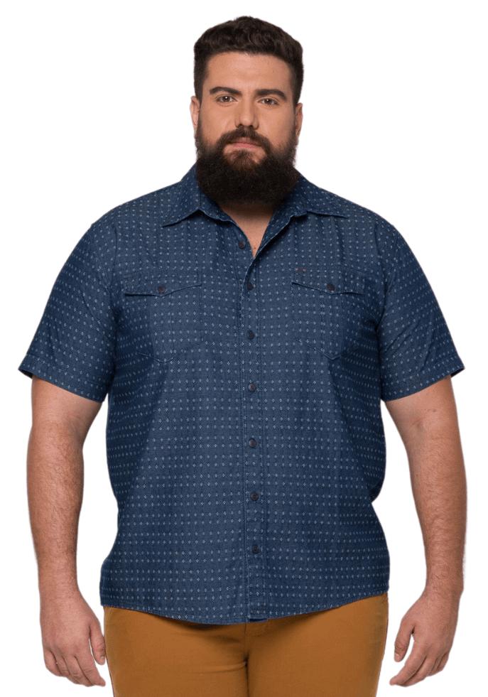 Camisa Masculina Colarinho Plus Size