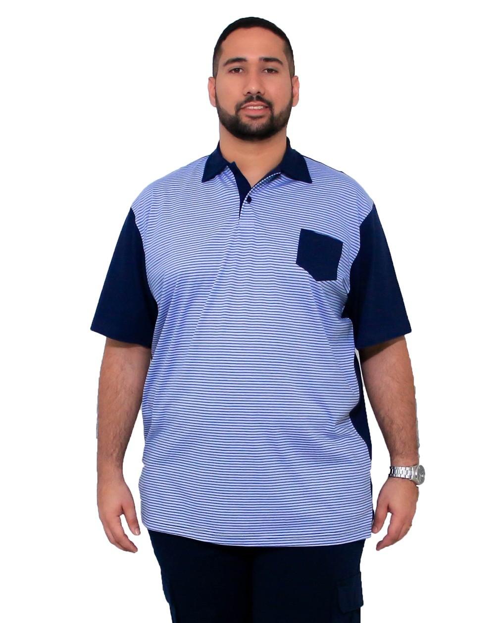 Camisa Polo Detalhe com Bolso Plus Size