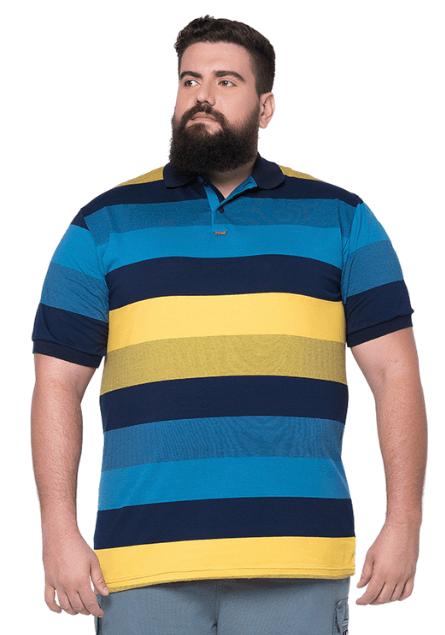 Camisa Polo Listrada Plus Size - Promoção