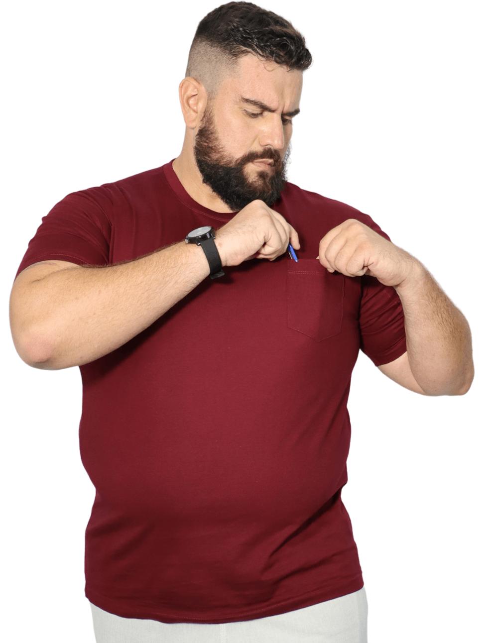 Camiseta Básica Com Bolso XPlusSize 100% Algodão