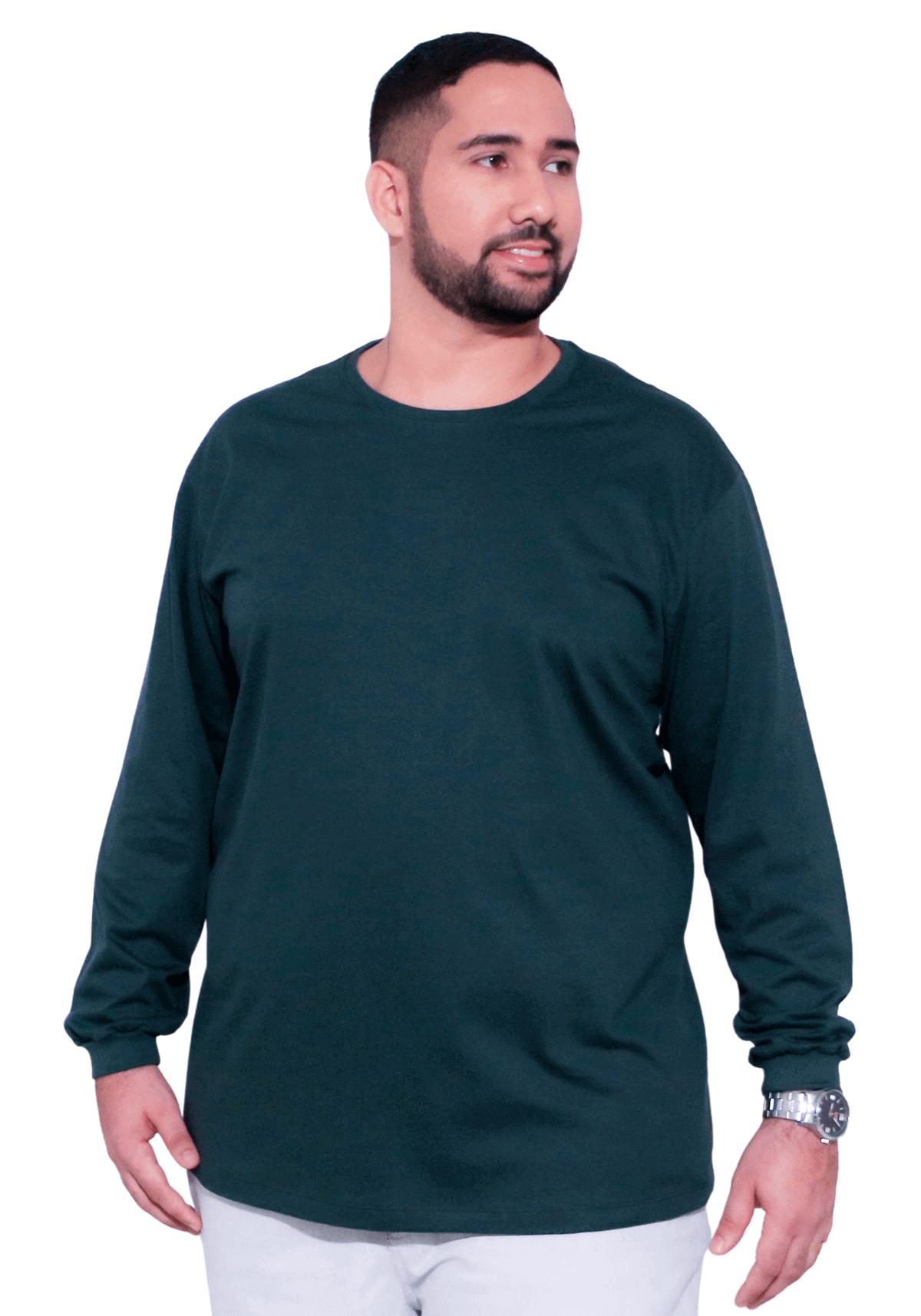 Camiseta Básica Manga Longa Plus Size 100% Algodão