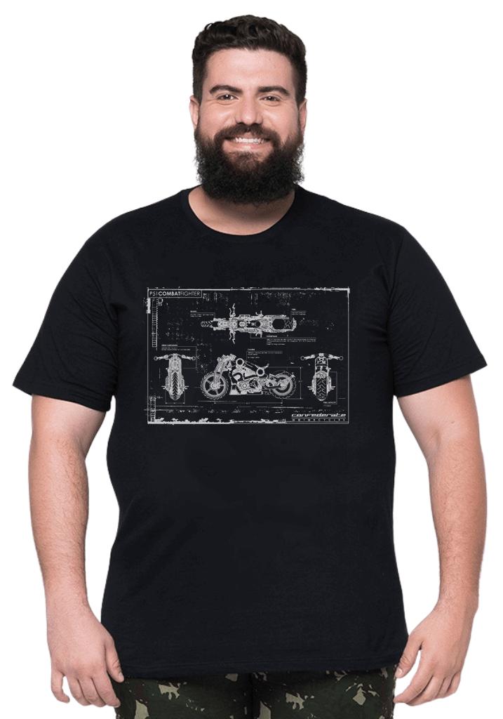 Camiseta Blueprint Moto Plus Size 100% Algodão