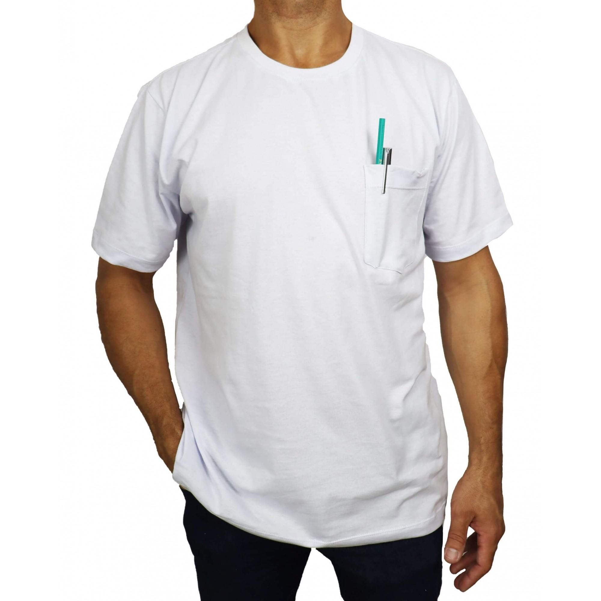 Camiseta Branca Básica Com Bolso Plus Size 100% Algodão