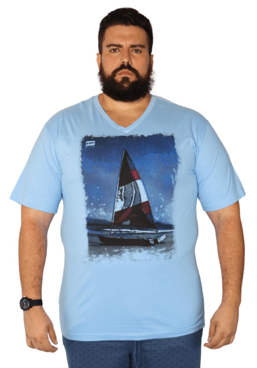 Camiseta Gola V Barco à Vela Plus Size - Promoção
