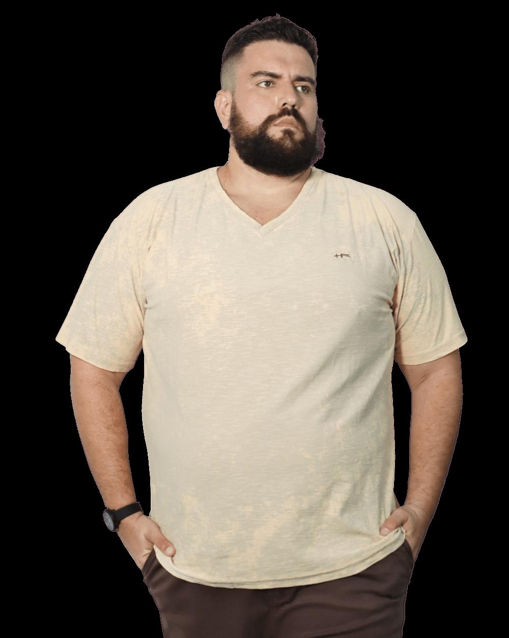 Camiseta Gola V Lavagem Tie Dye Plus Size - Promoção