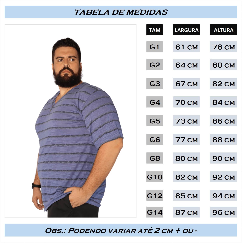 Camiseta Gola V Listrada com Botões Plus Size - Promoção