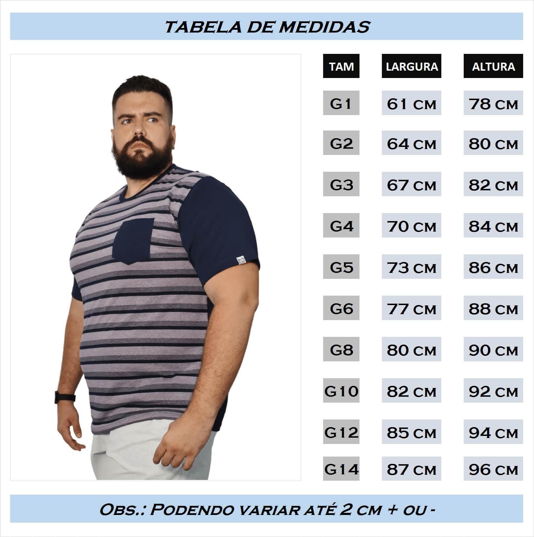 Camiseta Listrada Com Bolso Plus Size