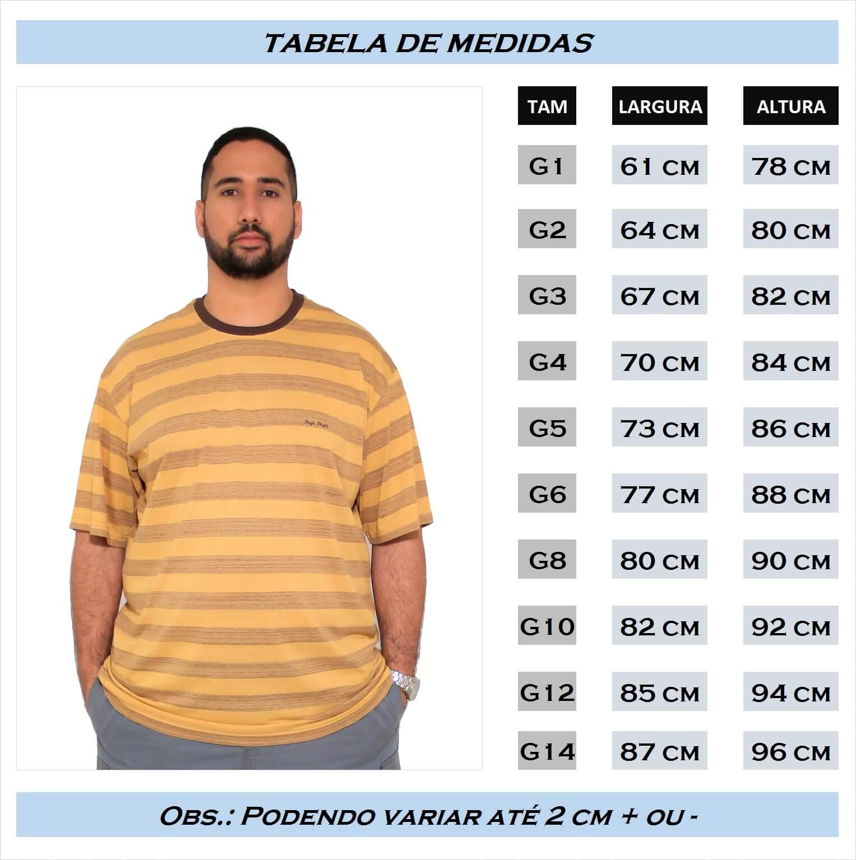 Camiseta Listrada com Bordado Plus Size - Promoção