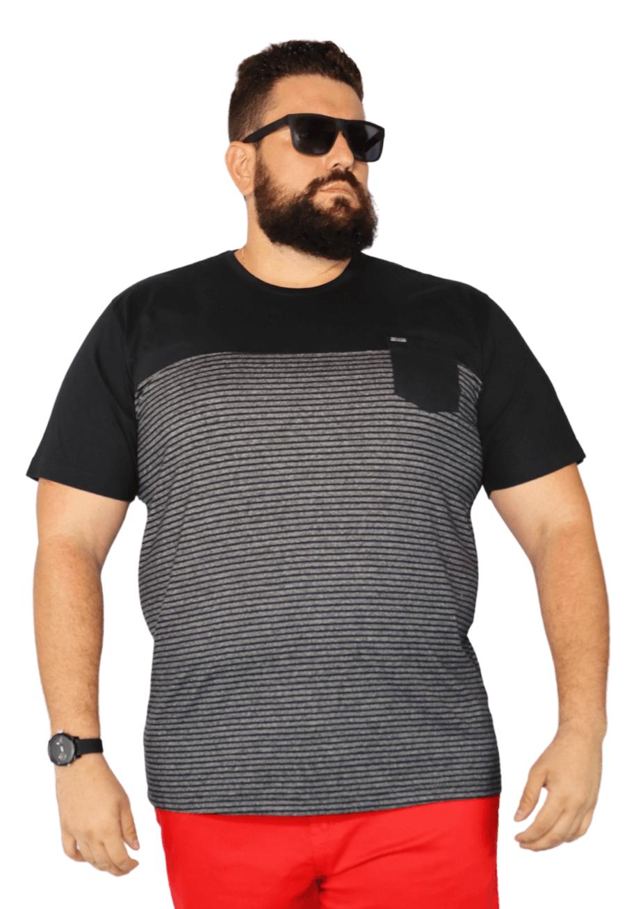 Camiseta Listrada Moline Recorte Peito Plus Size