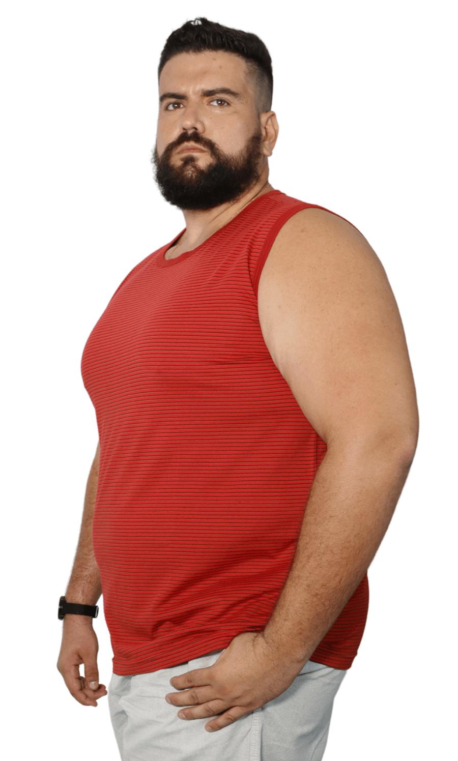 Camiseta Machão Listrada Plus Size