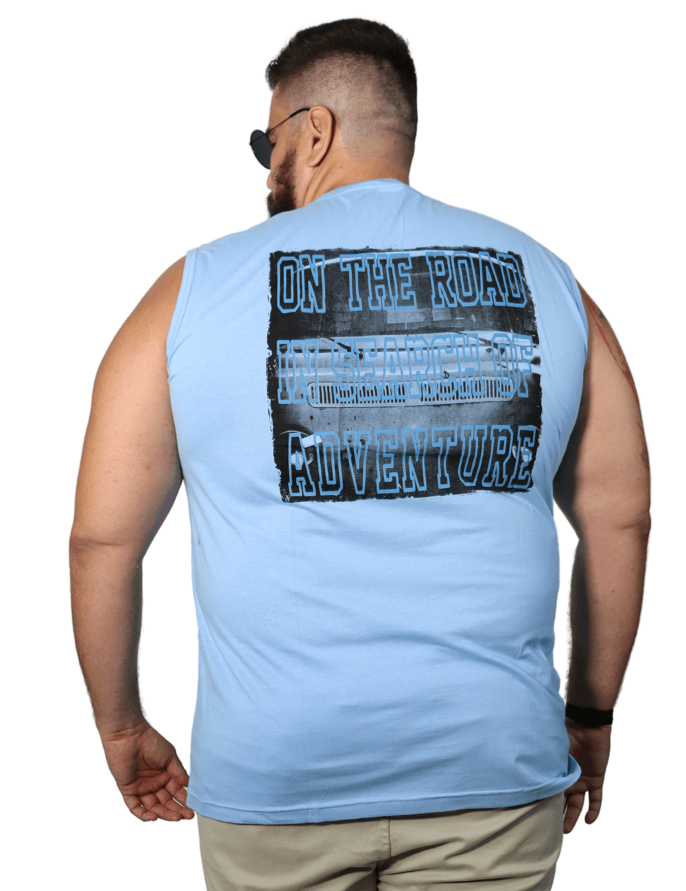 Camiseta Machão Gola V On The Road Plus Size - Promoção