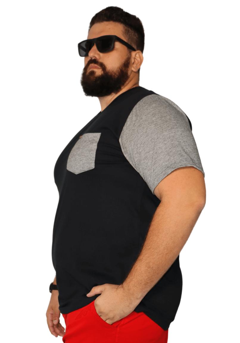 Camiseta Masculina Manga e Bolso Mescla XPlusSize
