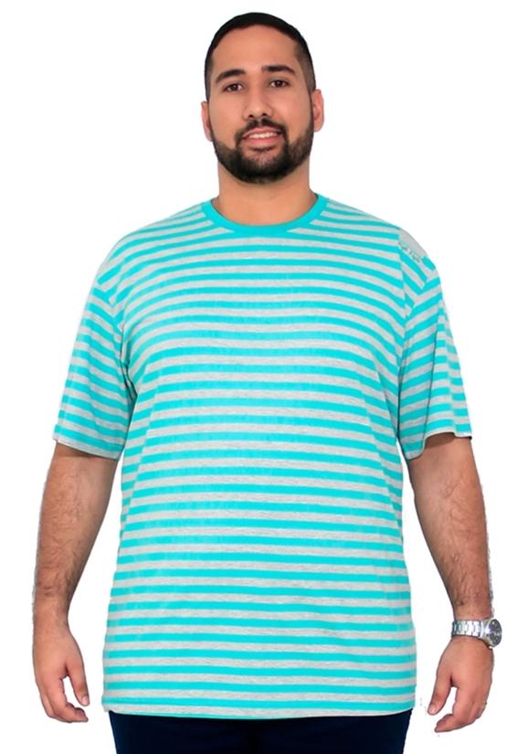 Camiseta Mescla Listrada Bordado Plus Size - Promoção