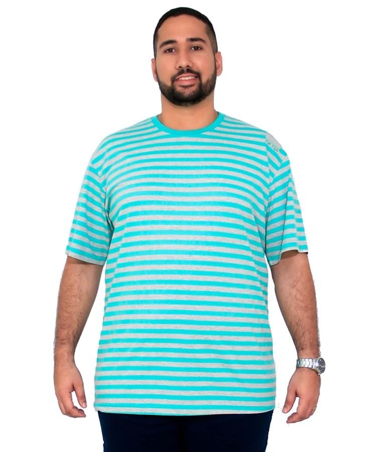 Camiseta Mescla Listrada Masculina Bordado Plus Size