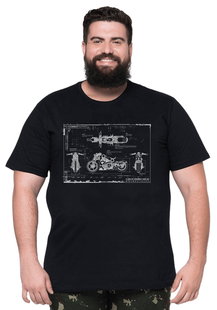 Camiseta Moto Blueprint Plus Size - Promoção