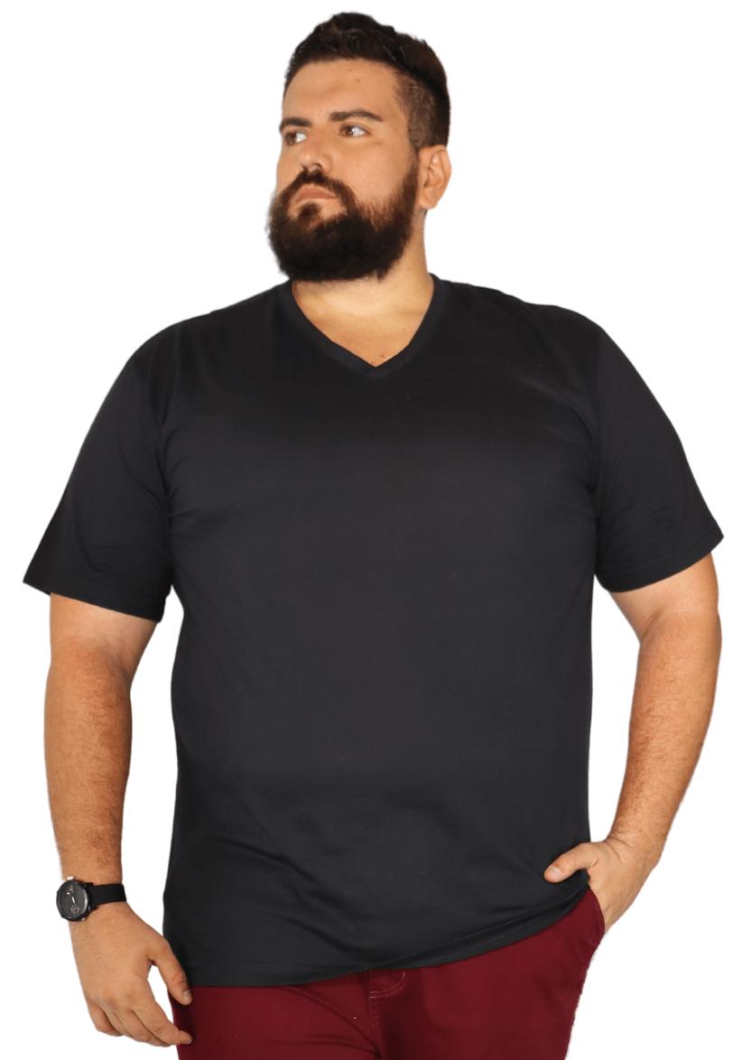 Camiseta Plus Size Básica Gola V 100% Algodão EXPlus