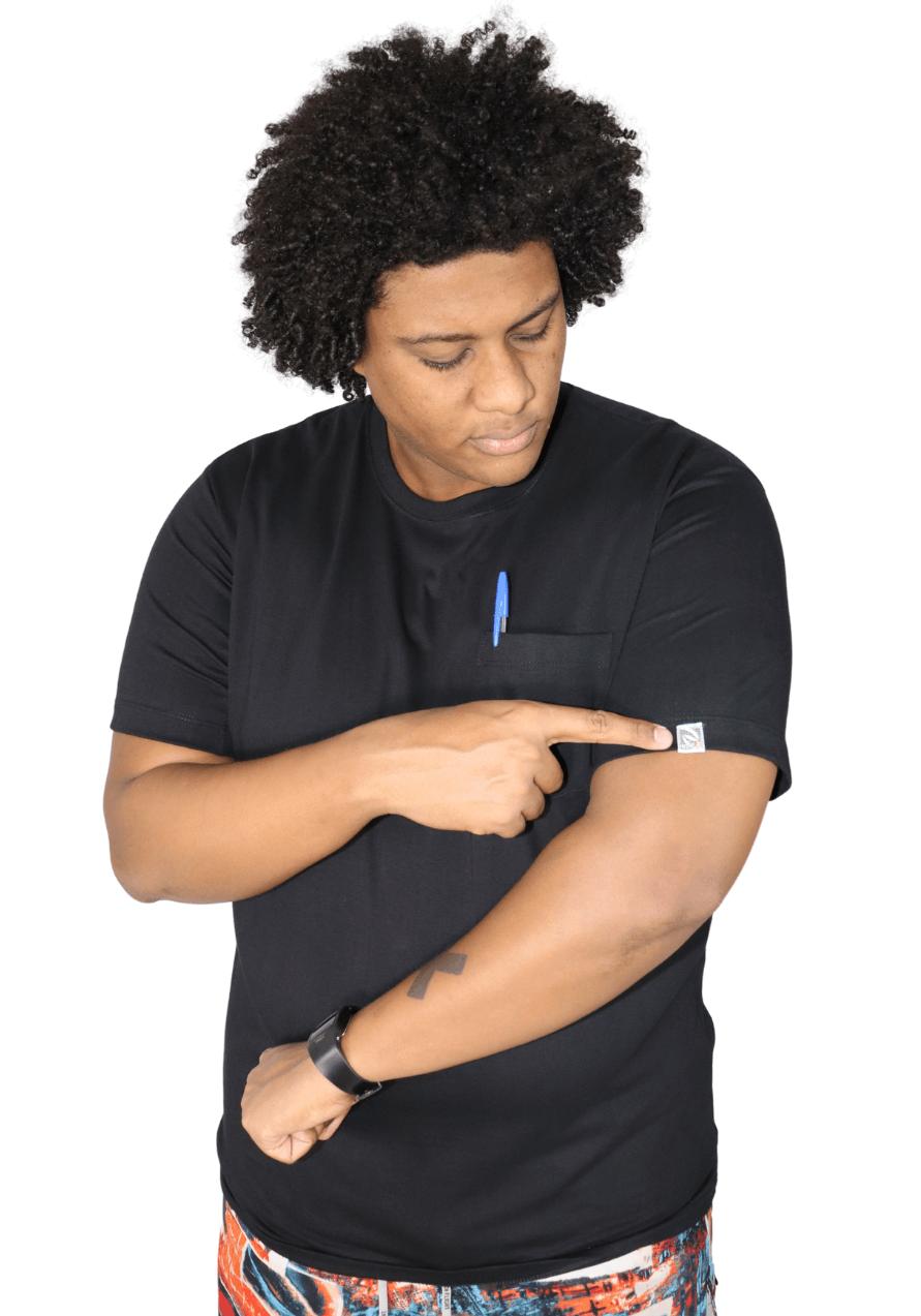 Camiseta Plus Size Básica Lisa Com Bolso 100% Algodão EXPlus