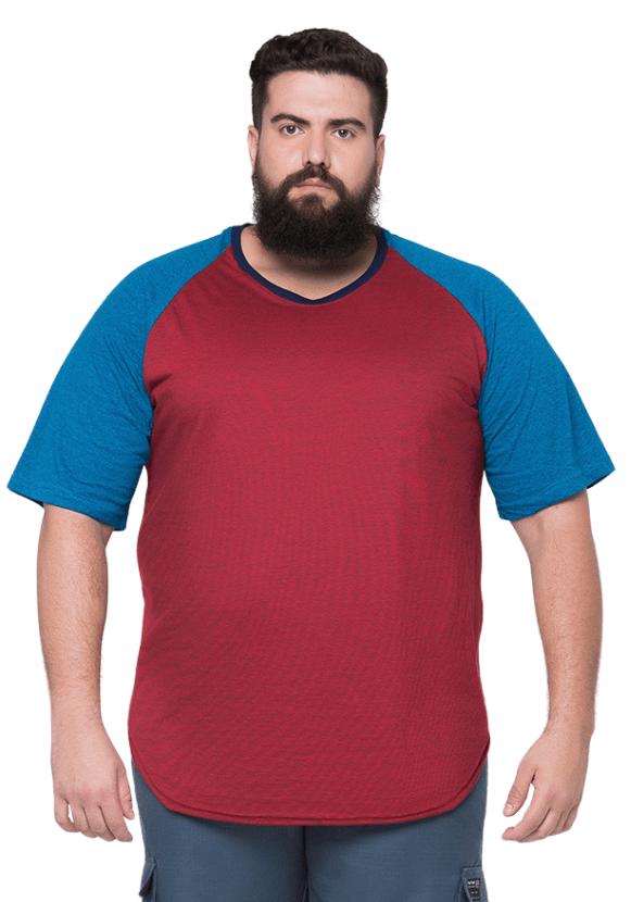 Camiseta Raglan Long Line Plus Size