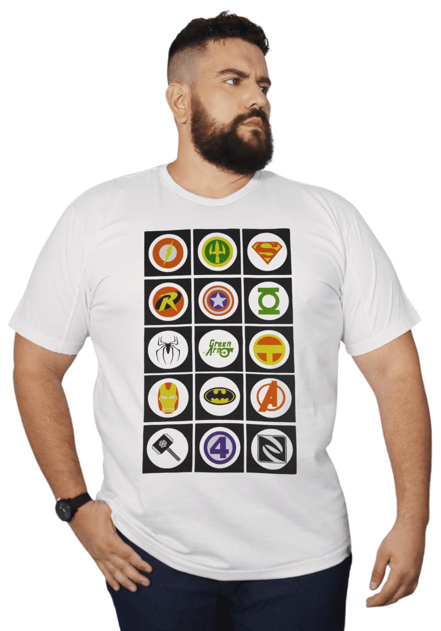 Camiseta Super-Hérois Plus Size 100% Algodão