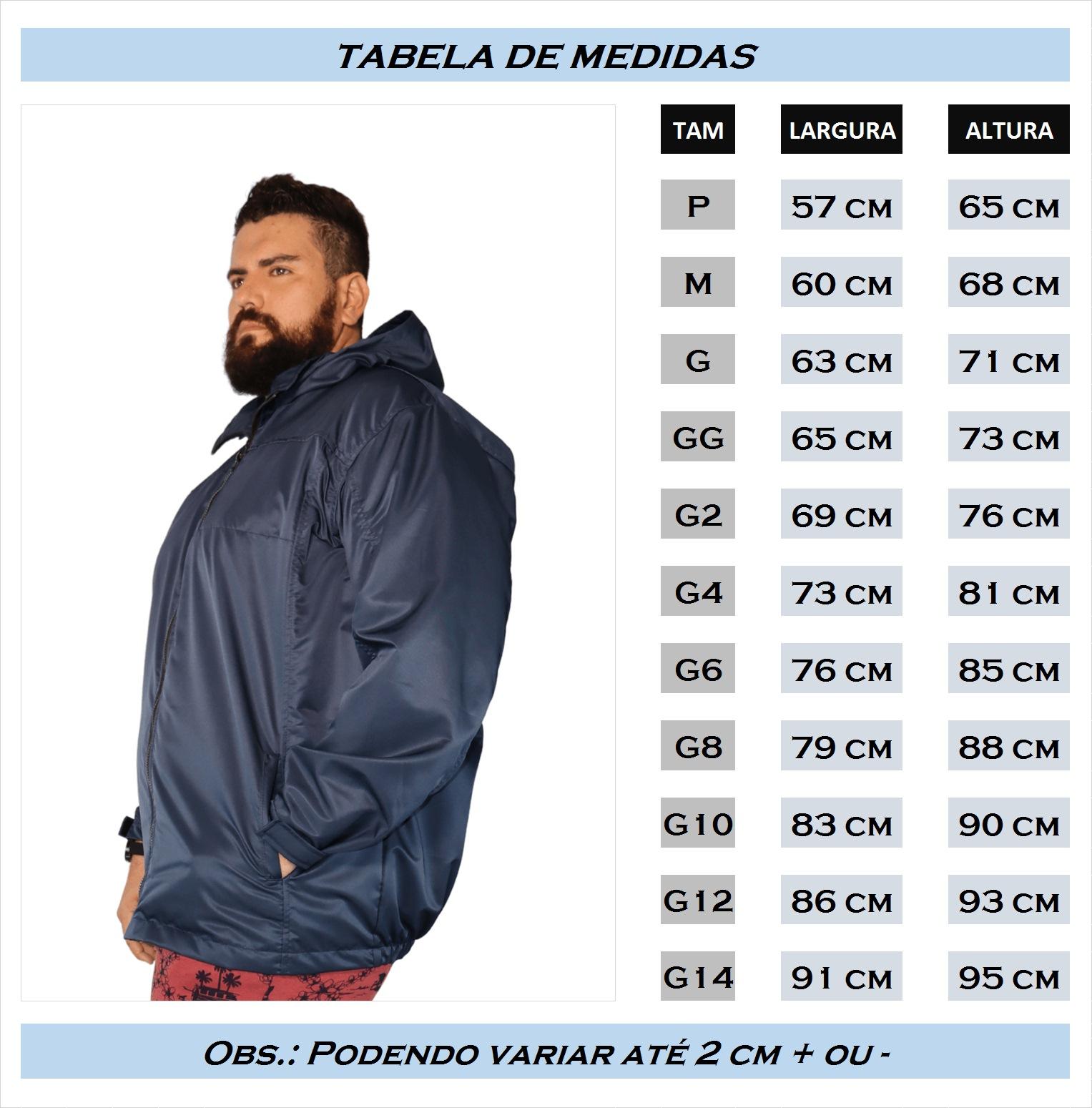 Jaqueta Casaco Microfibra Com Capuz Plus Size Impermeável