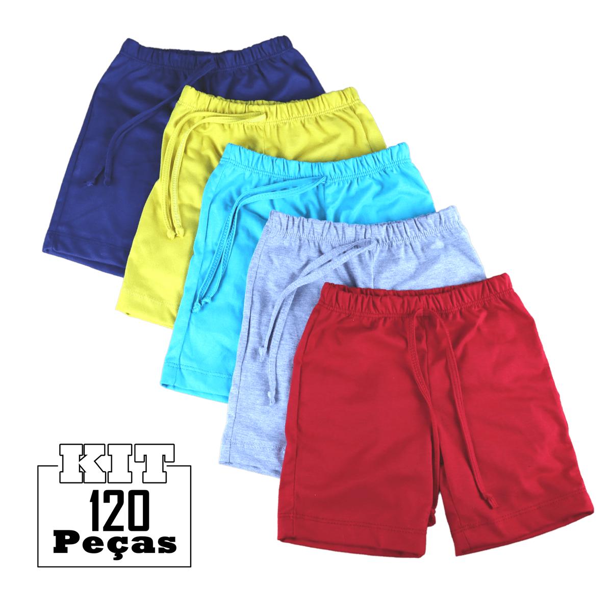 Kit 120 Shorts Bermuda Malha Bebê Menino Menina Atacado