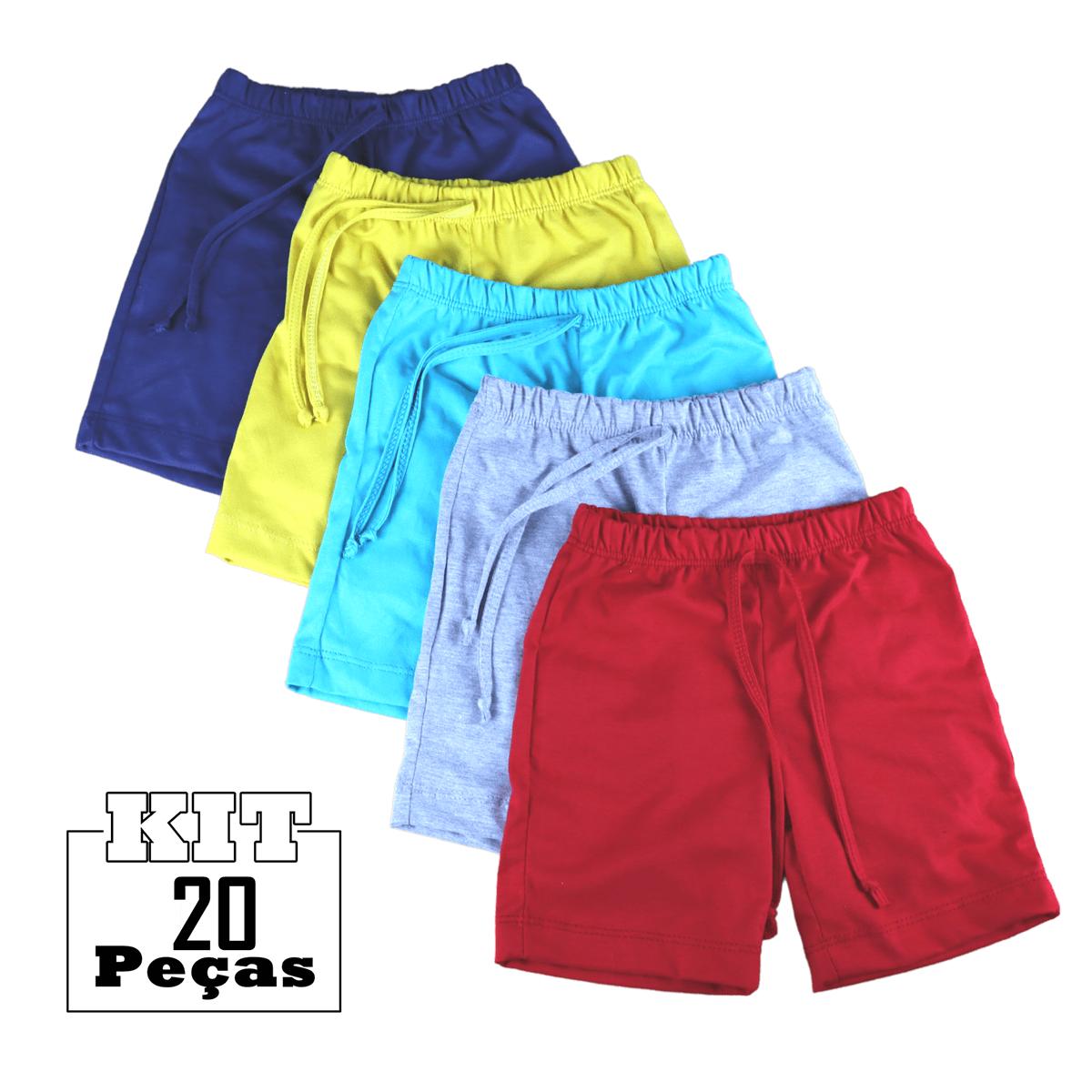 Kit 20 Shorts Bermuda Malha Bebê Menina Menino 100% Algodão