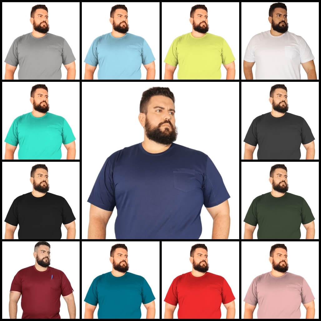 Kit 2 Camisetas Plus Size Básica c/ Bolso 100% Algodão Plus