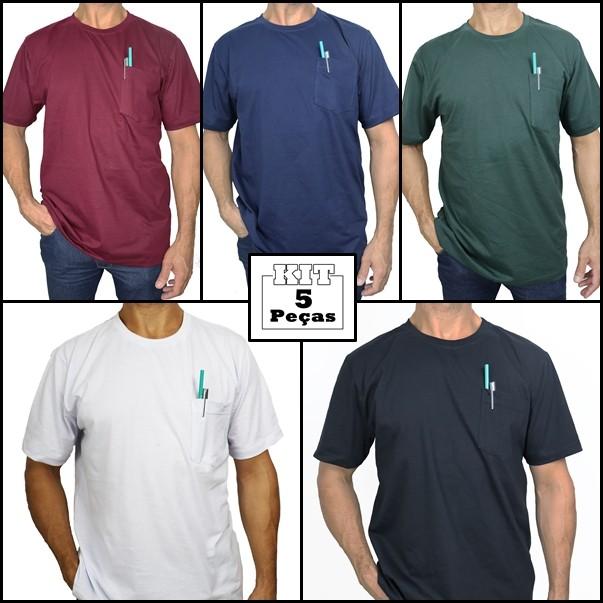 Kit 5 Camisetas Básicas Com Bolso 100% Algodão