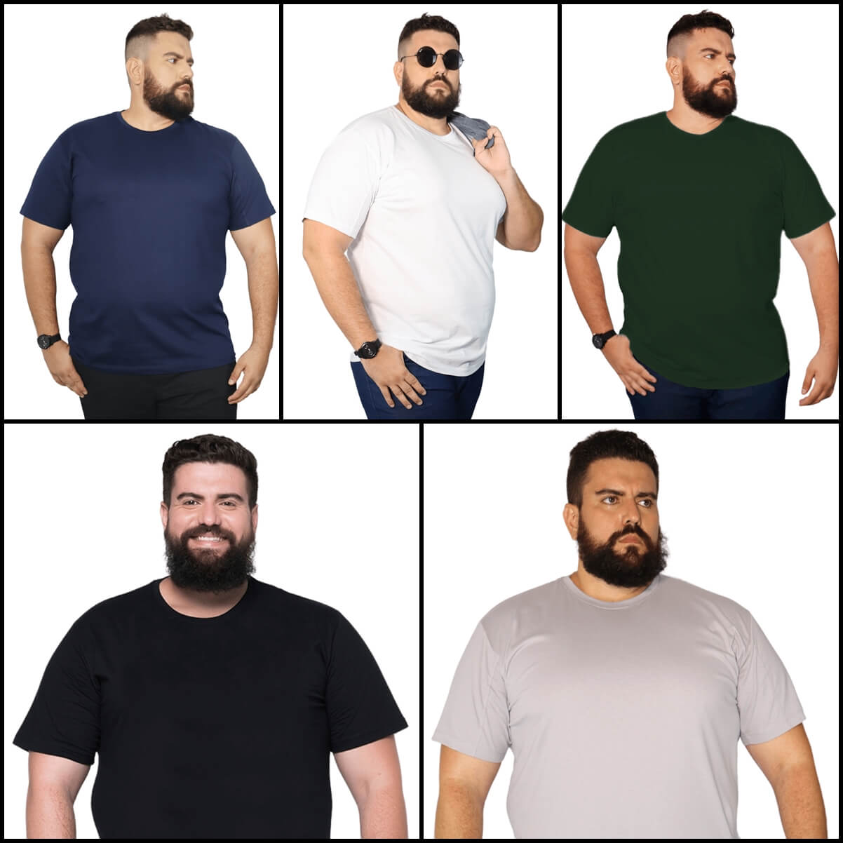 Kit 5 Camisetas Básicas XXPlusSize 100% Algodão