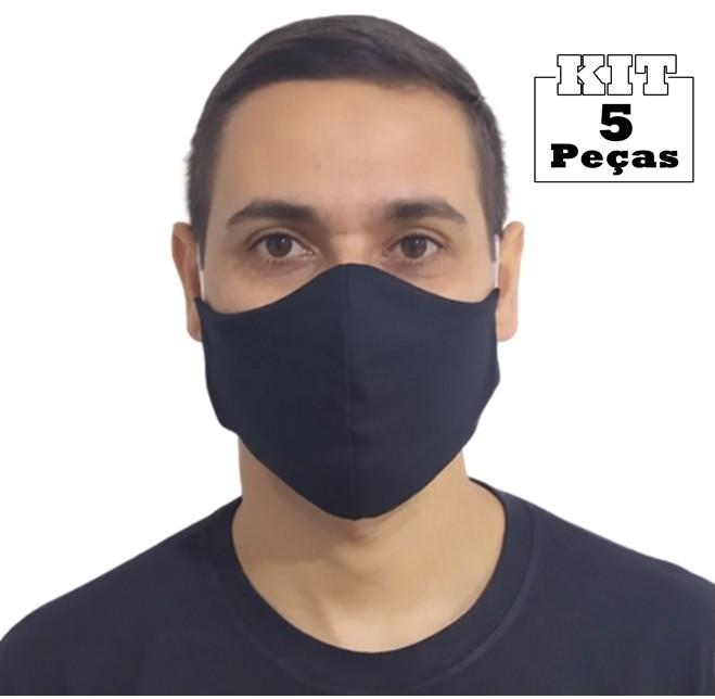 Kit 5 Máscaras Tradicionais 100% Algodão Lavável