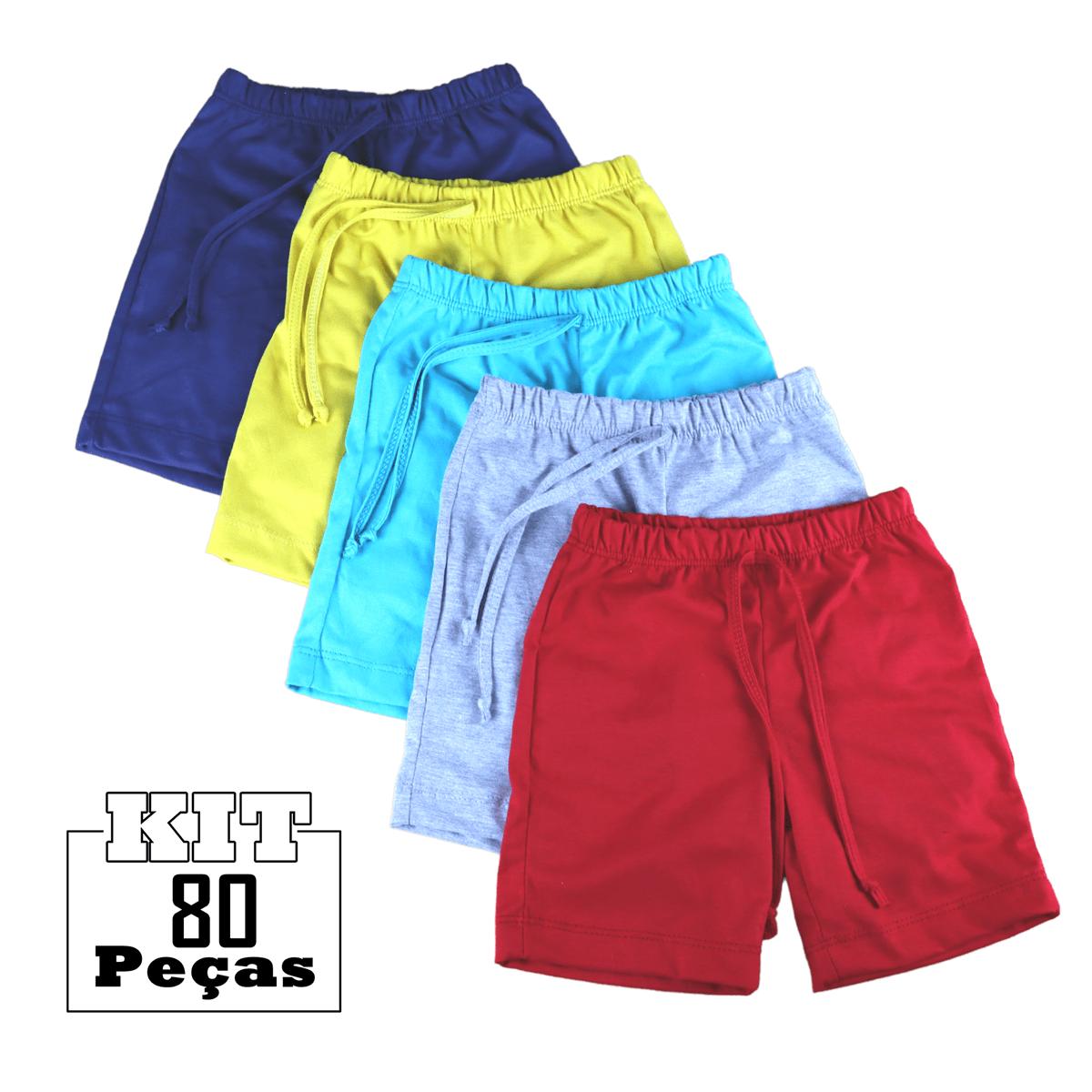 Kit 80 Shorts Bermuda Malha Bebê Menina Menino Atacado