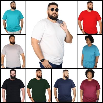 Kit 8 Camisetas Plus Size Básica Elegante 100% Algodão