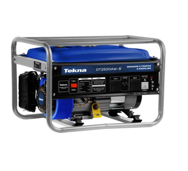 Gerador a Gasolina 2.5KVA 2500w 115/230V 60hz Mono 4T Partida Manual Multiuso 163cc Refrigerado a Ar Marca Tekna