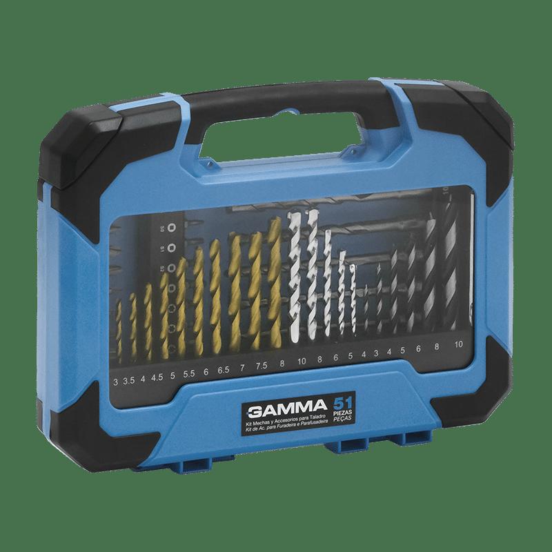 Kit de Acessórios Gamma Para Furadeira e Parafusadeira 51 Peças