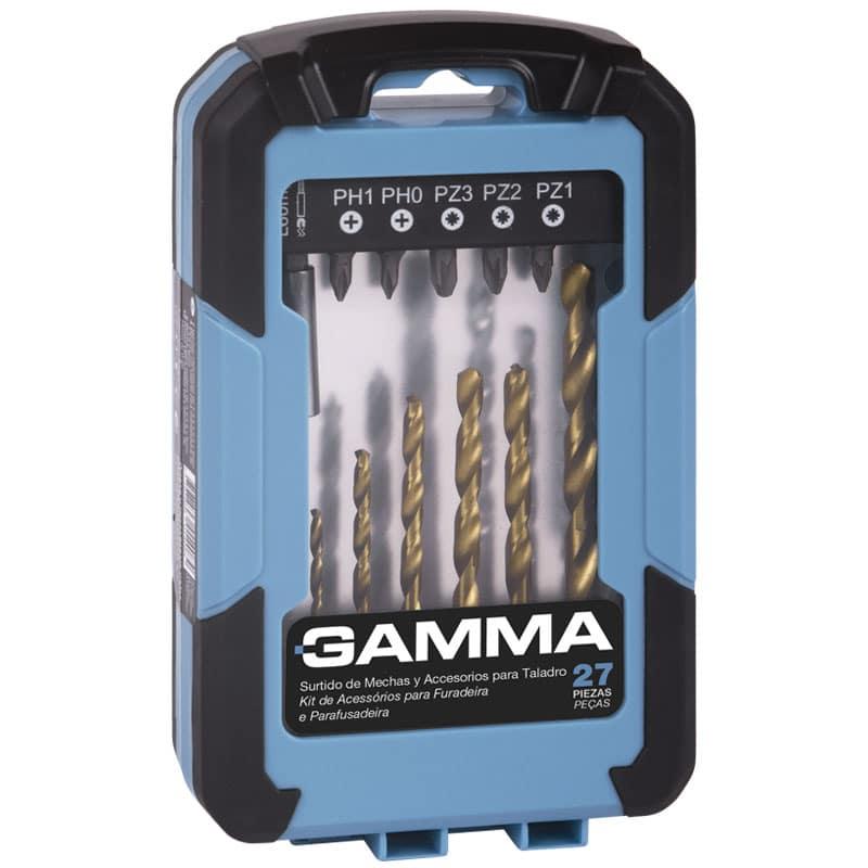 Kit de Acessórios Gamma Para Furadeira e Parafusadeira 27 Peças